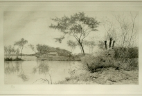 Ice House Pond (1995.1.1).  Trained as an etcher, Arthur Davis produced etchings of some of his works during the 1890s. This plate was lost after Davis died in 1953 and resurfaced in 1994. This etching was made from the original plate using the process that would have originally been used.