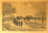 Minute Men Leaving Home of Captain Isaac Davis, April 19, 1775  (69.4.3).  This etching used to hang in the West School.