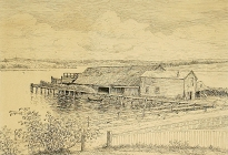 Old Griffin Wharf, Annisquam. (88.7.1).  Pen and ink. Davis occasionally visited his mother's family on Cape Ann.