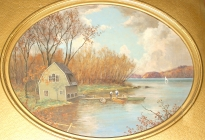 Boat House, Sandy Pond (Lincoln).  (69.4.2)  This painting was originally a gift to Acton schools and hung for over 30 years in Julia McCarthy's classroom at the South Acton School.