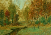 An Autumnal Hunting Scene (73.34.1).  Dated 1944.  Previously hung in the foyer of Julia McCarthy School.