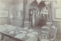Interior of the Memorial Library, view from the Fireplace Room (AML archives 67.5.2b)