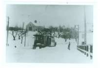 Streetcar in snow. Faulkner barn in the background (AML archives 68.1.8)