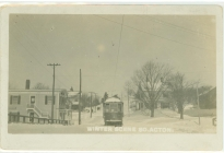 Winter scene with streetcar, South Acton (AML archives 74.16.1j)