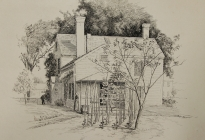 Arthur F. Davis. Back of Davis house, Acton, June 8, 1891. Pen and ink. Gift of Richard Nylander in memory of Barbara G. and Donald O. Nylander.  AML 2018.1.3.