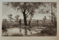 Arthur F. Davis. Old Foot Bridge. Etching on silk. 1889. Gift of Richard Nylander in memory of Barbara G. and Donald O. Nylander. Restored with funding provided in 2018 by the Acton Community Preservation Fund. AML 2018.1.9