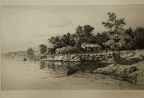 Arthur F. Davis. Buildings and boats near water.  Etching. 1889. Gift of Richard Nylander in memory of Barbara G. and Donald O. Nylander. Restored with funding provided in 2018 by the Acton Community Preservation Fund.  AML 2018.1.10