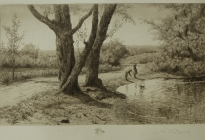 Arthur F. Davis. Old Road by the Pond. Etching. Gift of Richard Nylander in memory of Barbara G. and Donald O. Nylander. Restored with funding provided in 2018 by the Acton Community Preservation Fund.  AML 2018.1.17