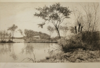 Arthur F. Davis. Pond with people on bridge. Etching. Gift of Richard Nylander in memory of Barbara G. and Donald O. Nylander.  AML 2018.1.26