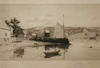 Arthur F. Davis. Wharf, boats and houses. 1898. Etching. Gift of Richard Nylander in memory of Barbara G. and Donald O. Nylander.  Restored with funding provided in 2018 by the Acton Community Preservation Fund.  AML 2018.1.27