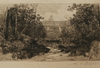 Arthur F. Davis. Bridge over a stream. Etching. Gift of Richard Nylander in memory of Barbara G. and Donald O. Nylander.  Restored with funding provided in 2018 by the Acton Community Preservation Fund.  AML 2018.1.29