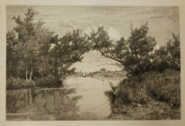 Arthur F. Davis. On Middlesex River. 1888. Etching. Gift of Richard Nylander in memory of Barbara G. and Donald O. Nylander.  Restored with funding provided in 2018 by the Acton Community Preservation Fund.  AML 2018.1.31