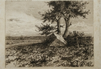 Arthur F. Davis. Boulder and tree. Etching on silk. Gift of Richard Nylander in memory of Barbara G. and Donald O. Nylander. Restored with funding provided in 2018 by the Acton Community Preservation Fund.  AML 2018.1.34
