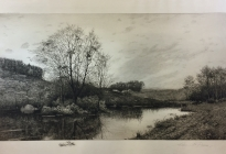 Arthur F. Davis. Pond and trees.  1892.  Etching. Gift of Richard Nylander in memory of Barbara G. and Donald O. Nylander.  Restored with funding provided in 2018 by the Acton Community Preservation Fund. AML 2018.1.40