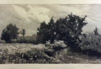 Arthur F. Davis. Stream and trees. 1889. Etching. Gift of Richard Nylander in memory of Barbara G. and Donald O. Nylander.  Restored with funding provided in 2018 by the Acton Community Preservation Fund. AML 2018.1.46
