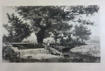 Arthur F. Davis. Girl by waterfall.  Etching. Gift of Richard Nylander in memory of Barbara G. and Donald O. Nylander. Restored with funding provided in 2018 by the Acton Community Preservation Fund.  AML 2018.1.50