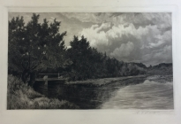 Arthur F. Davis. Pond and woman on bridge.  1889.  Etching. Gift of Richard Nylander in memory of Barbara G. and Donald O. Nylander.  Restored with funding provided in 2018 by the Acton Community Preservation Fund. AML 2018.1.51