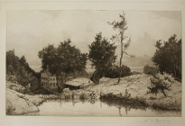 Arthur F. Davis.  Mill pond with figures, buildings in background. 1890. Etching. Gift of Richard Nylander in memory of Barbara G. and Donald O. Nylander. Restored with funding provided in 2018 by the Acton Community Preservation Fund.  AML 2018.1.54