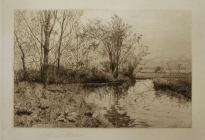 Arthur F. Davis.  Nashoba Brook.  Etching. Gift of Richard Nylander in memory of Barbara G. and Donald O. Nylander. Restored with funding provided in 2018 by the Acton Community Preservation Fund.  AML 2018.1.57