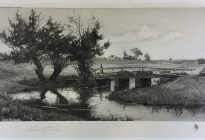 Arthur F. Davis. Woman crossing a bridge. 1890. Etching. Gift of Richard Nylander in memory of Barbara G. and Donald O. Nylander.  Restored with funding provided in 2018 by the Acton Community Preservation Fund. AML 2018.1.62