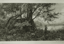 Arthur F. Davis. Girl by tree and boulder (Bartlett's Boat House). Etching. Gift of Richard Nylander in memory of Barbara G. and Donald O. Nylander.  AML 2018.1.63