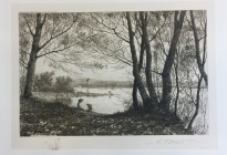 Arthur F. Davis. Two girls by a lake.  1899.  Etching. Gift of Richard Nylander in memory of Barbara G. and Donald O. Nylander.  Restored with funding provided in 2018 by the Acton Community Preservation Fund. AML 2018.1.64