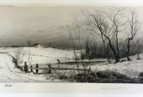 Arthur F. Davis. Winter scene with house on hill and boys skating.  1890. Etching.  Gift of Richard Nylander in memory of Barbara G. and Donald O. Nylander.  Restored with funding provided in 2018 by the Acton Community Preservation Fund.  AML 2018.1.72