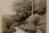 Arthur F. Davis. Trees and rock.  Etching on silk.  Gift of Richard Nylander in memory of Barbara G. and Donald O. Nylander.  AML 2018.1.74