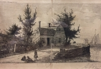 Old New England House (1997.1.2)  Etching on silk.