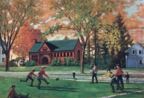 Boys Playing Football (38.1.8). The Memorial Library is in the background. Painted from Mr. Davis' house at 491 Main Street.