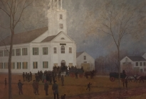 Departure of the Davis Guards for Lowell, 1861  (95.3.1).  The Second Meeting House, on the site of the present Town Hall, burned in a fire that devastated Acton Center in 1862.