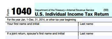 clip from 1040 tax form