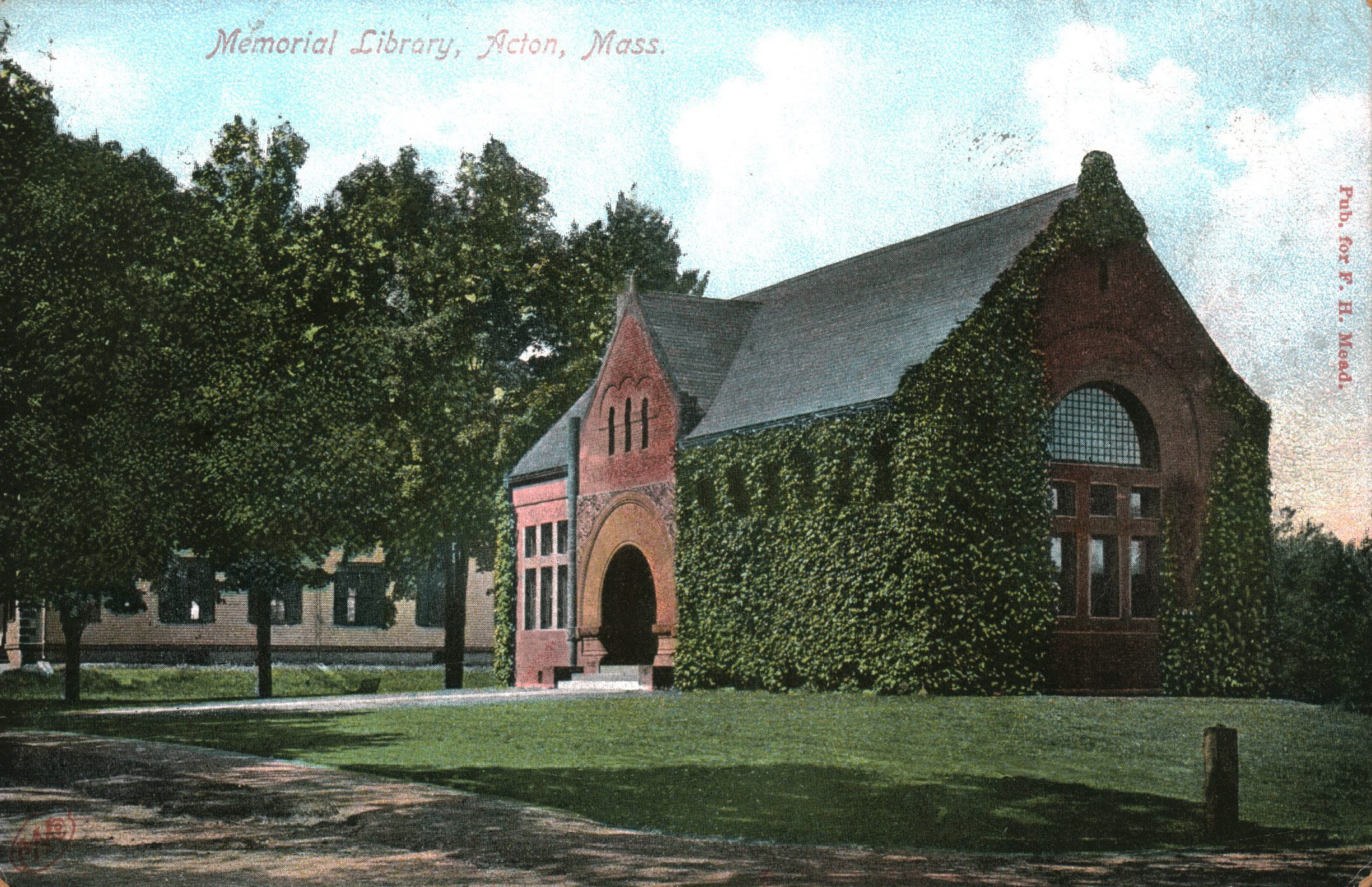 Acton Memorial Library, postcard postmarked 1906