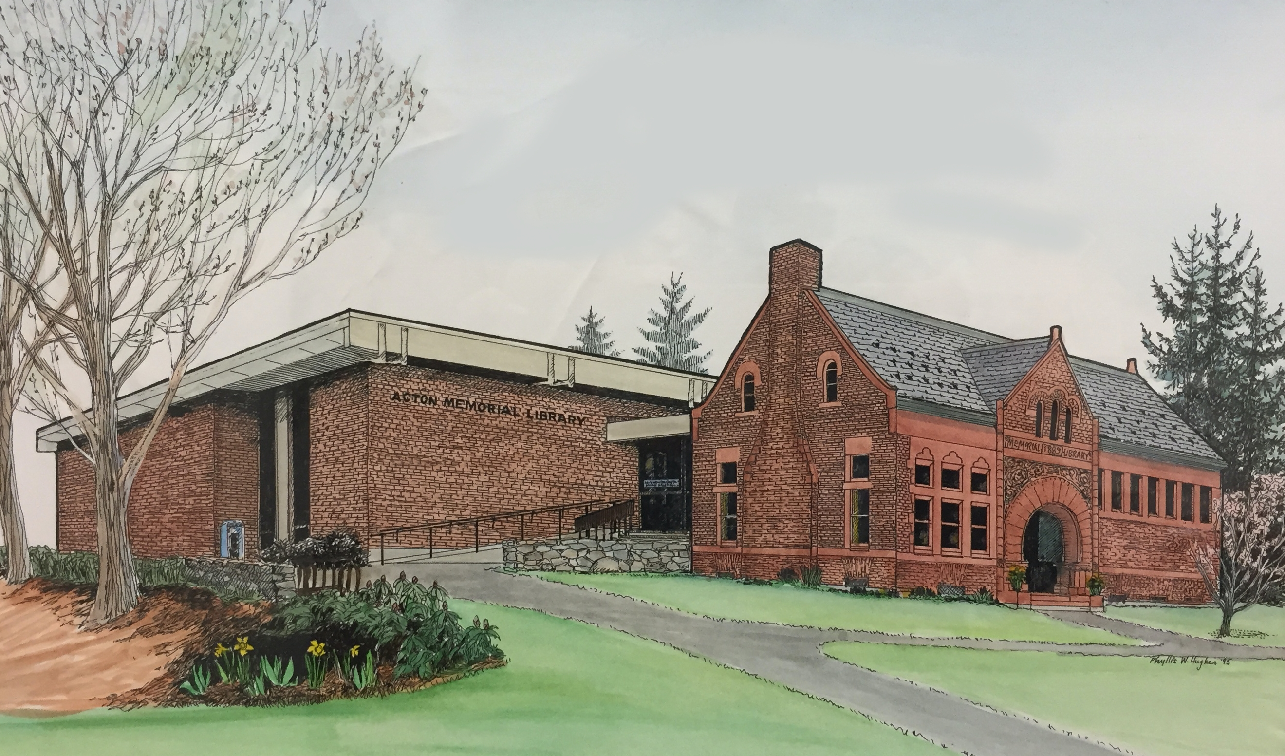 A sketch of the Acton Memorial Library with 1967 addition, by Phyllis Hughes