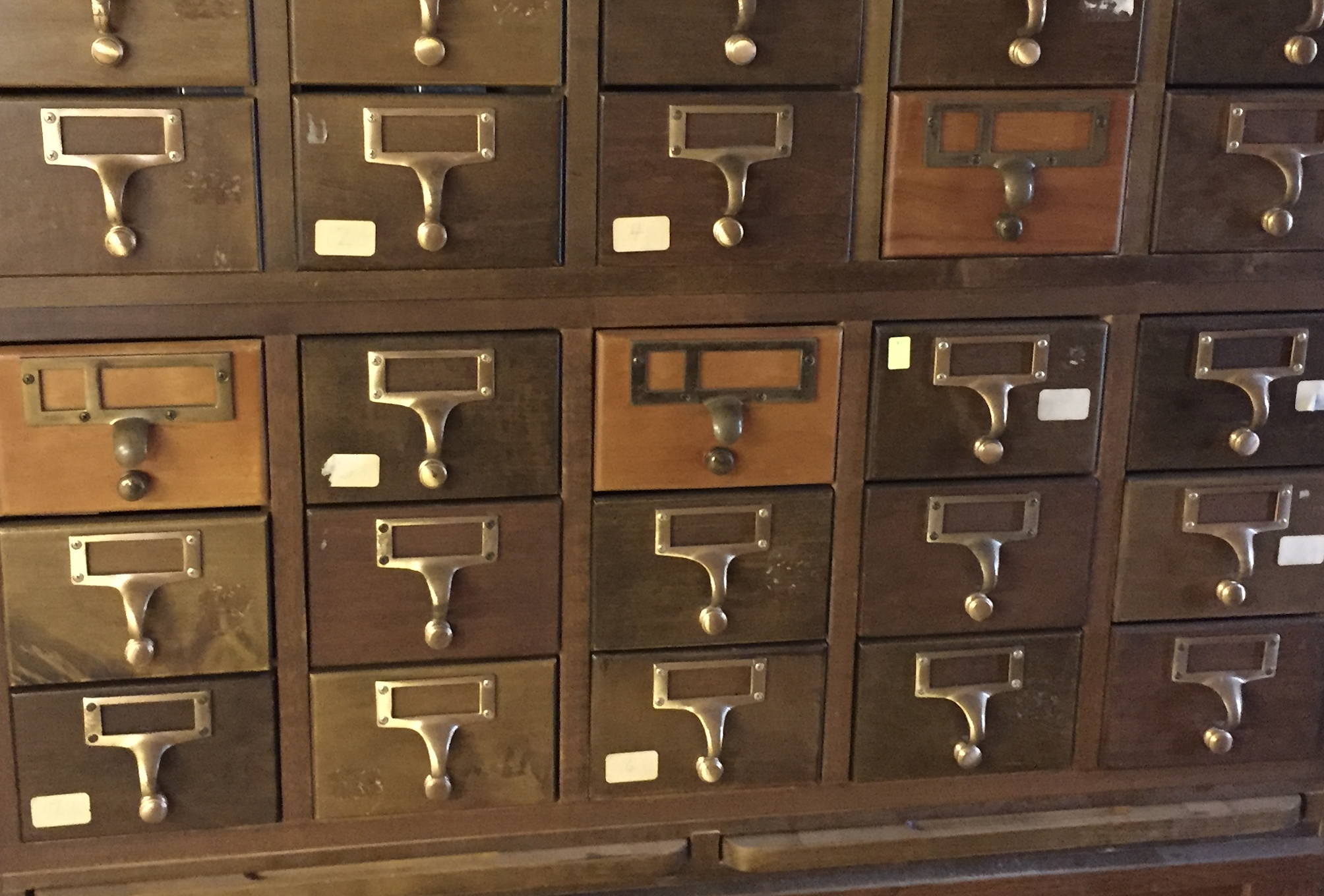 Old card catalog, currently in storage