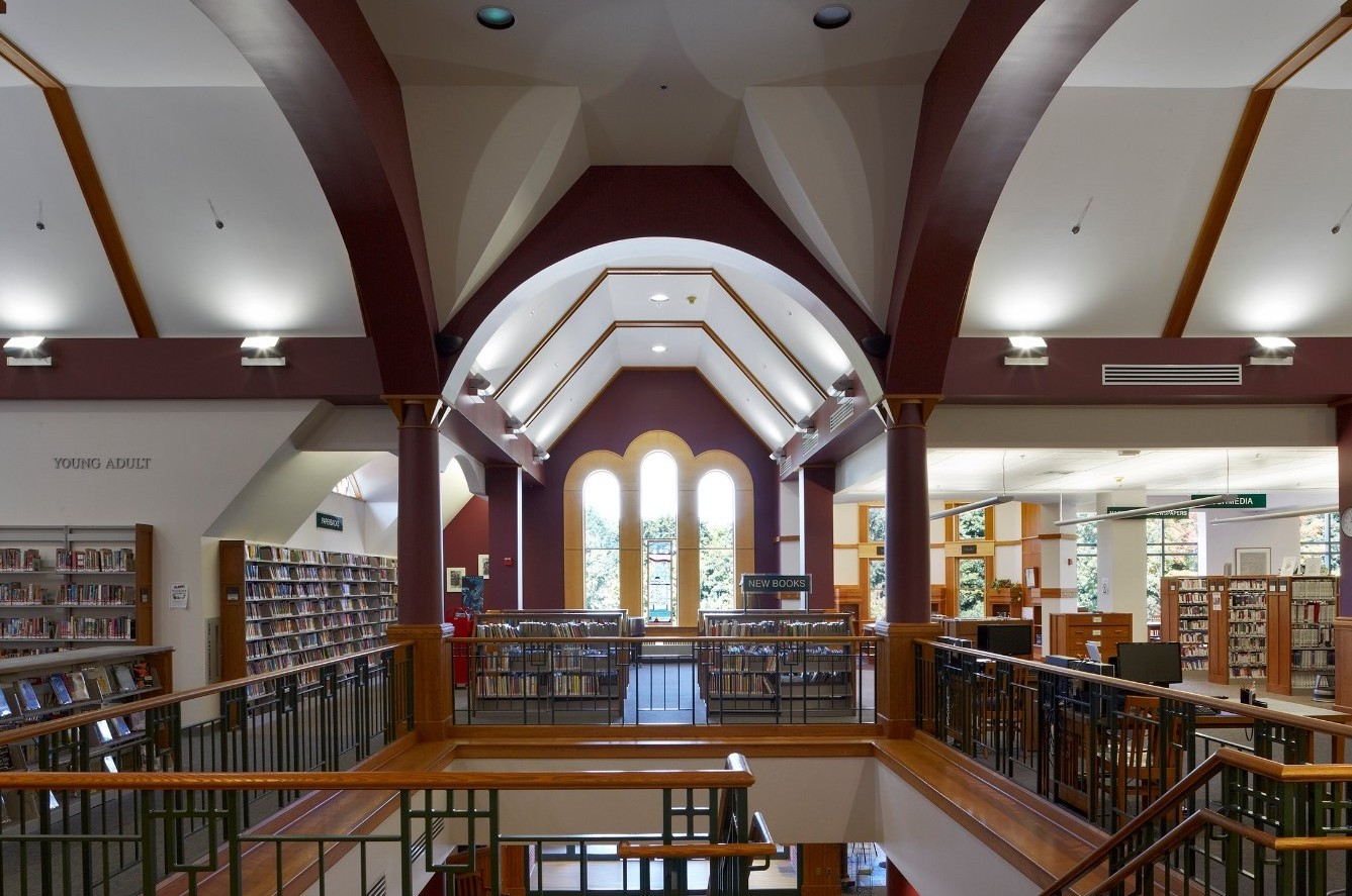 Interior of the library, photograph Charles Mayer Photography