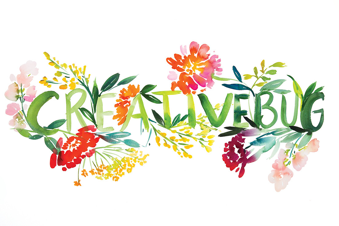 "Watercolor that spells ""CreativeBug"""