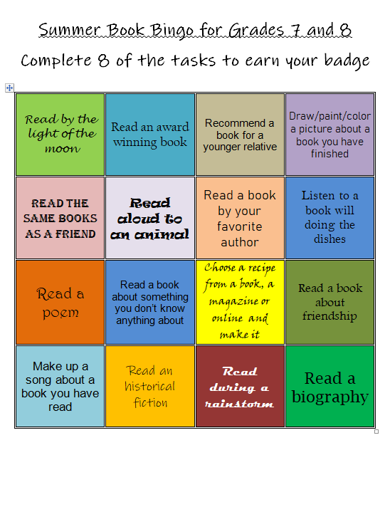 Bingo Card for Grades 7 & 8 for Summer Reading Program 2020