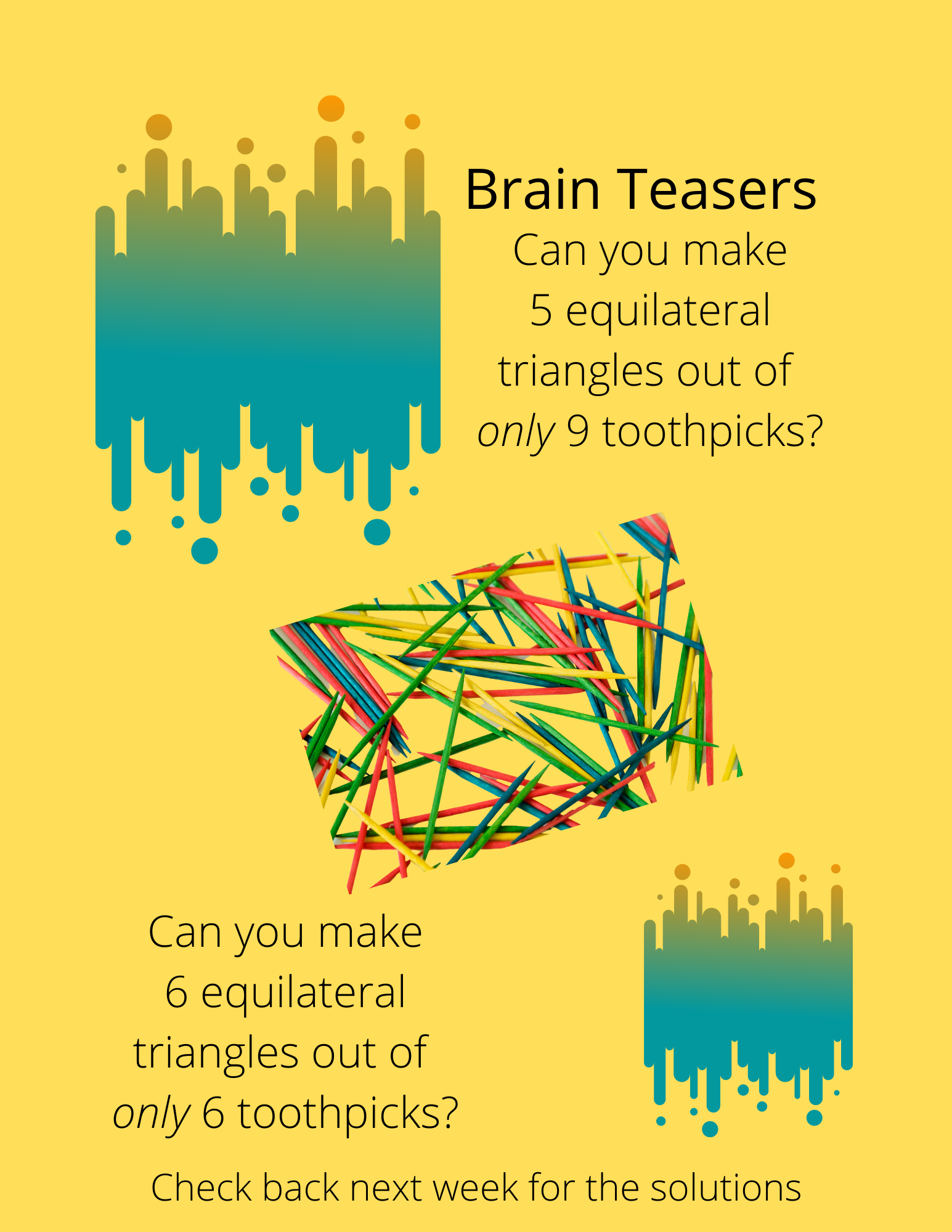 Brain Teaser Toothpick puzzles, 6 equilateral triangles with 6 toothpicks, 5 equilateral triangles with 9 toothpicks