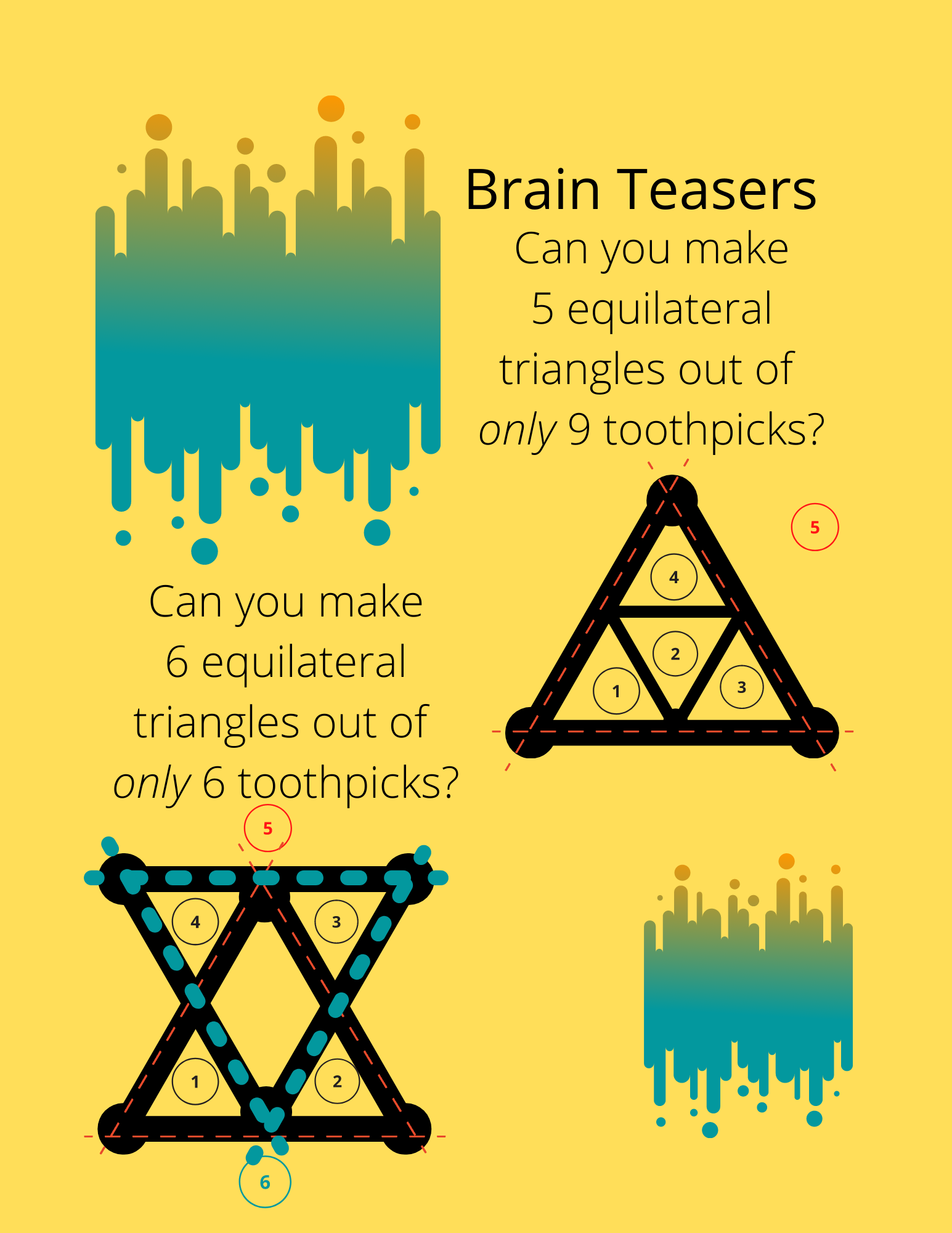 Solutions to Toothpick Triangle Brain Teasers