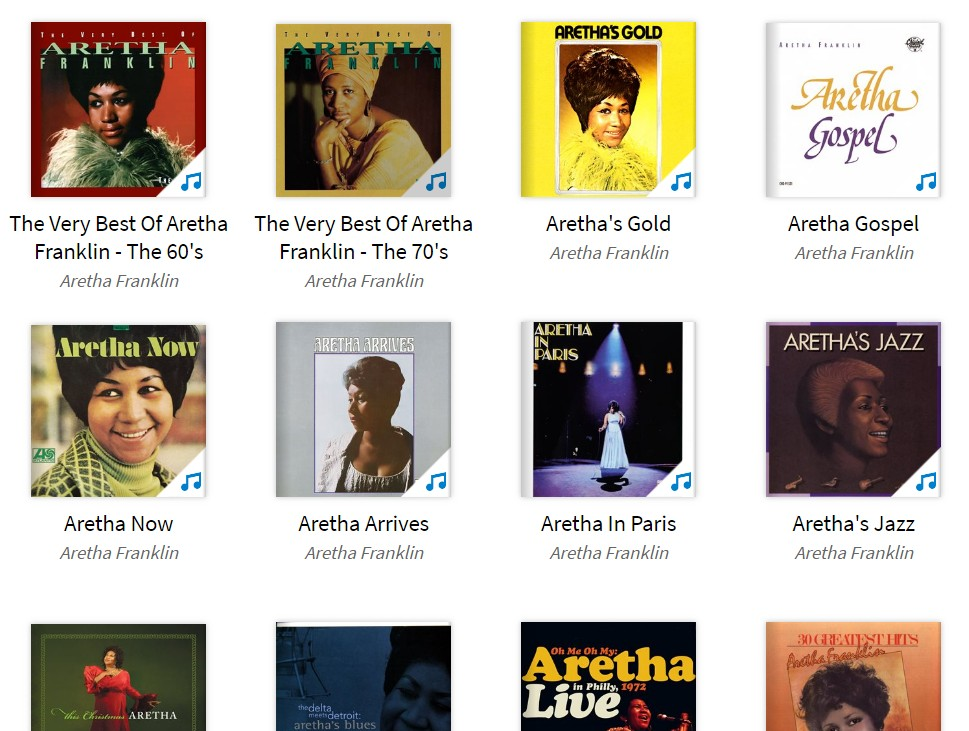 screenshot of Aretha Franklin from Hoopla