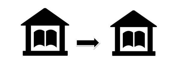 Interlibrary loan pictogram showing two library buildings with an arrow between them