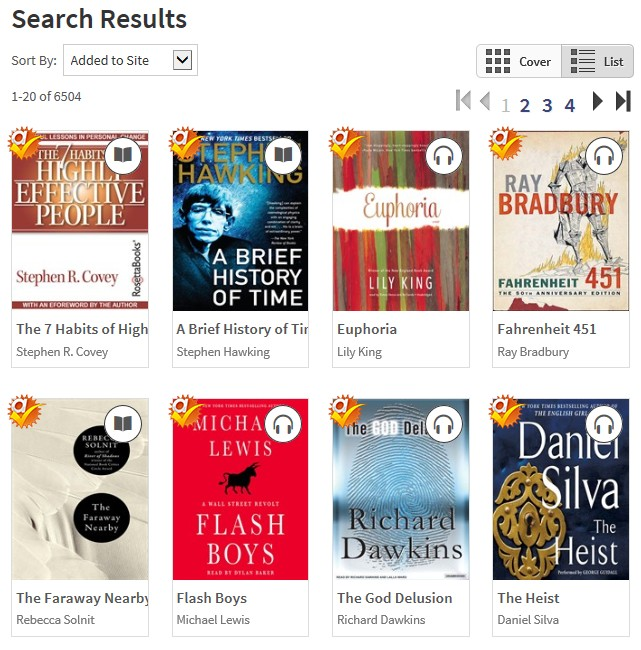 Overdrive search results page with book covers
